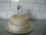 svatební 2 patrový bílý dort Ž+N, holoubci ,prstýnky č.463