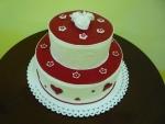svatební 2 patrový  bílo červený dort vyšší se srdíčky ,bílé růže č.757