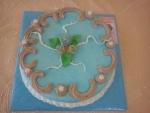 dort kulatý modrý marcipán, čokoládový krém, pro paní
