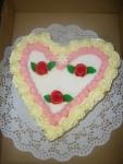 srdce dort - vrch marcipán + tři růže    č.91