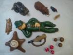 figurka marcipánová myslivec,pes,divočák,puška,sova,kos,hříbky,vochomůrky,pařez