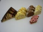střecha, ořechová rol., čokoládová rol., kokosová rol., punčový řez,