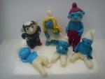 marcipanové figurky - gargamel,šmoulinka,taťka šmoula,lenoch,šmoulík,silák,