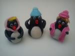 figurky marcipánoví tučňáci s čepičkama
