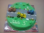 dort auta na silnici bagr,traktor,tahač