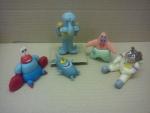 figurky marcipánové pan Krabs, Plankton,Sépiák, Patrik hvězdice,Sandy veverka,