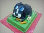 dort zvířátko na paloučku černý domácí králíček s mrkvičkou a křečkem